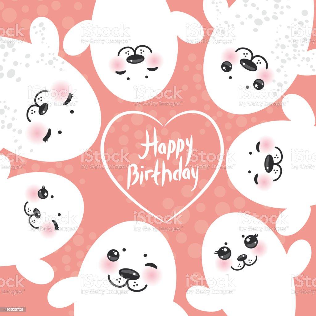 Happy Birthday Card Lustige Weiße Seebär Hunde Süße Zwinkern Stock