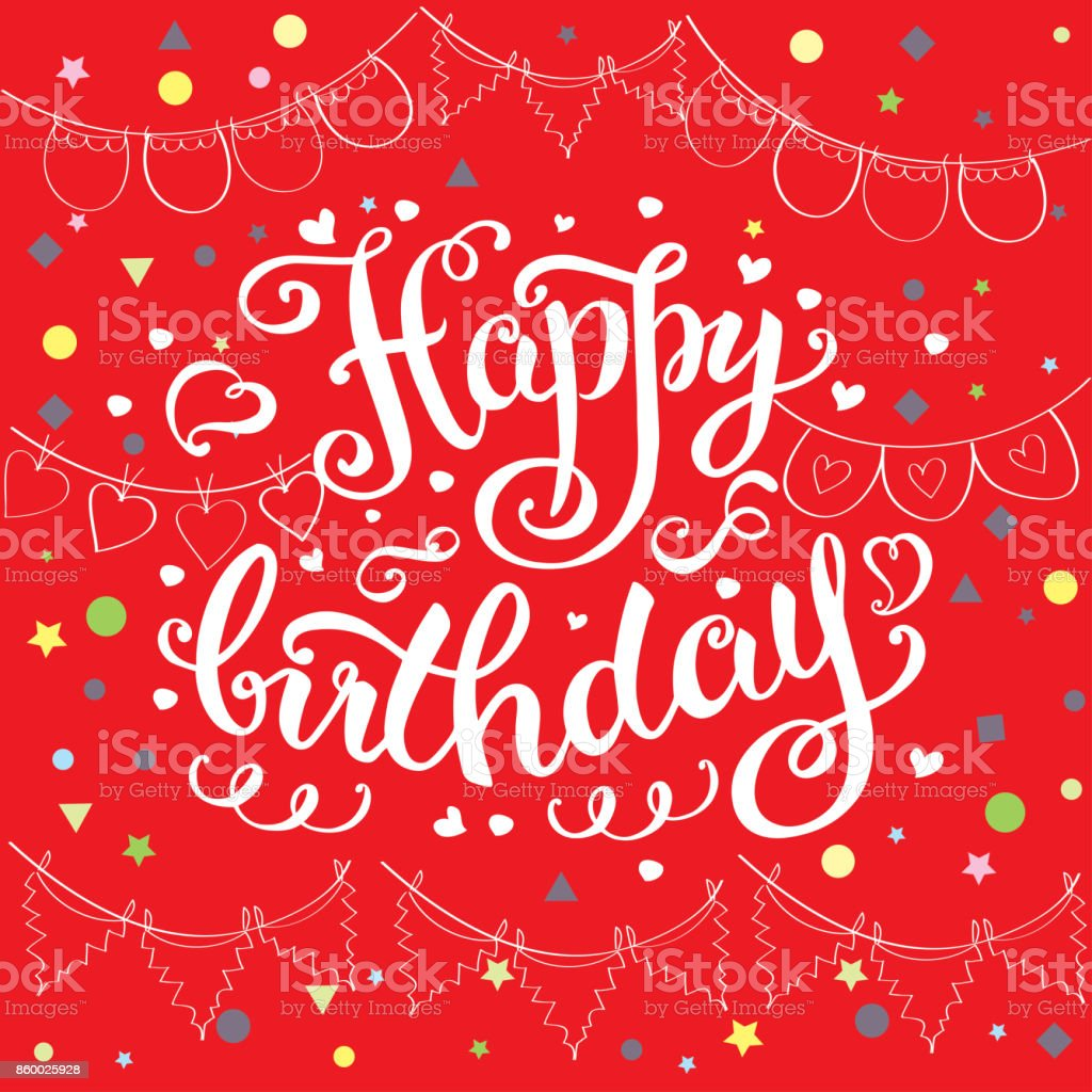 Happy Birthday Card Hand Drawn Ettering On Red Background Stock Illustration Download Image Now Istock