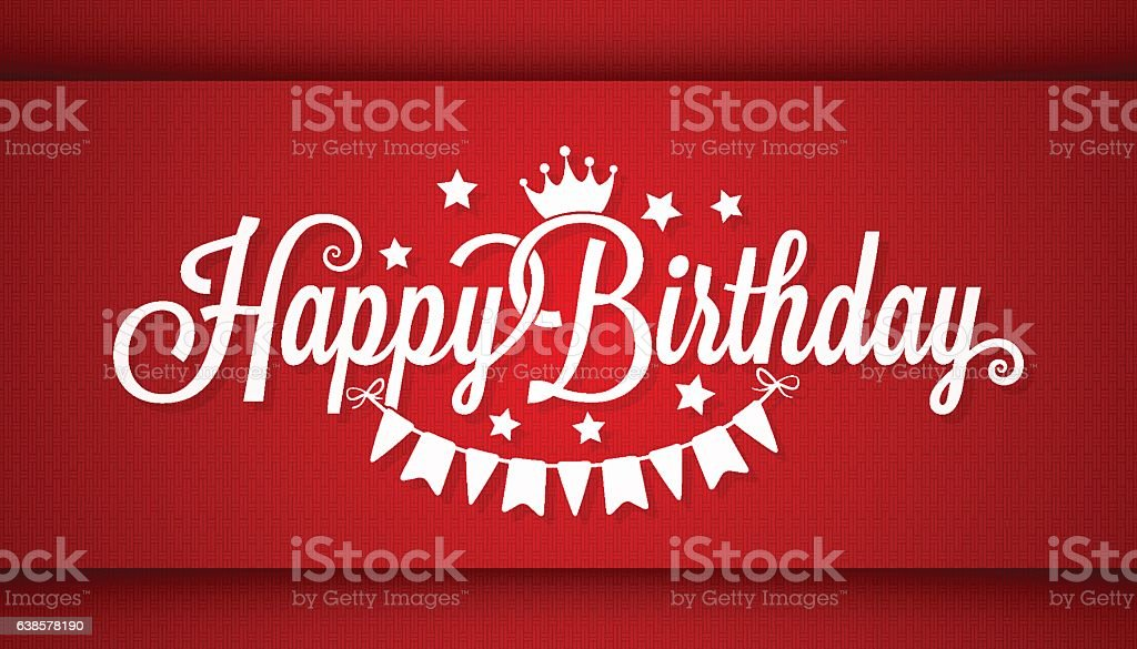 Happy Birthday Card On Red Background - ilustración de arte vectorial