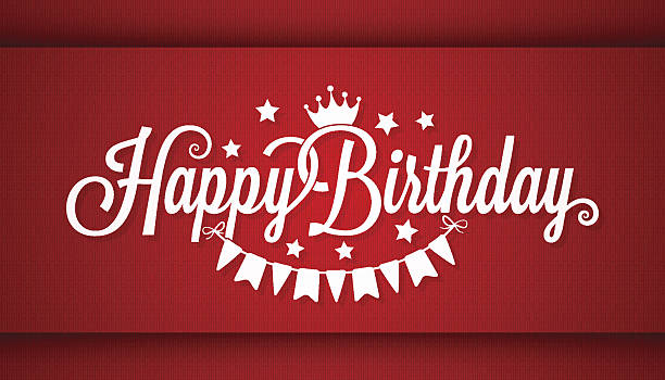 Happy Birthday Card On Red Background vector art illustration