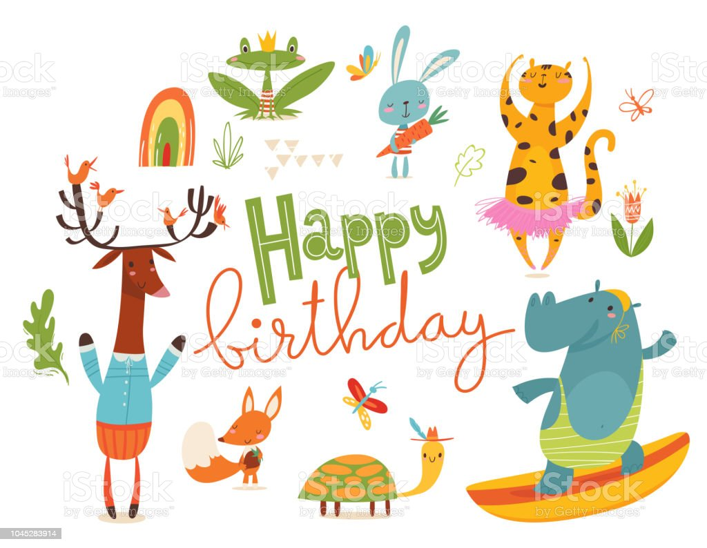 Happy Birthday Card Or Poster With Wild Animals Royalty Free