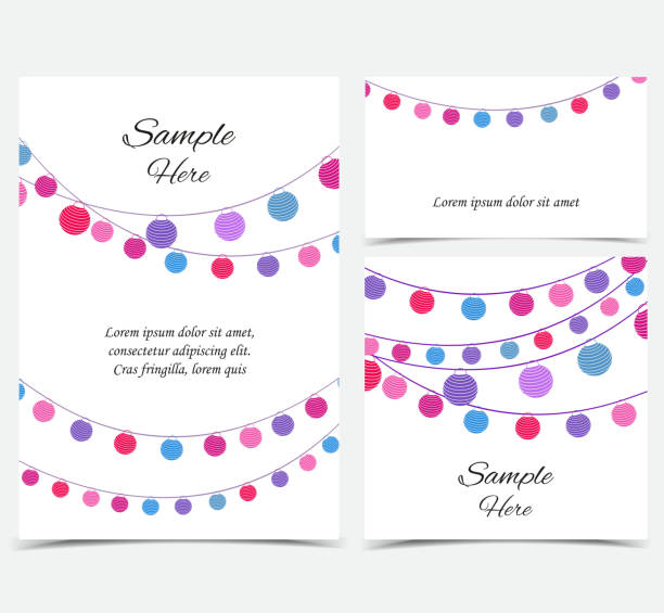Happy birthday card, party celebration Vector illustration with a chain of colored lanterns. Happy birthday card, party celebration. Set of greeting cards lantern stock illustrations
