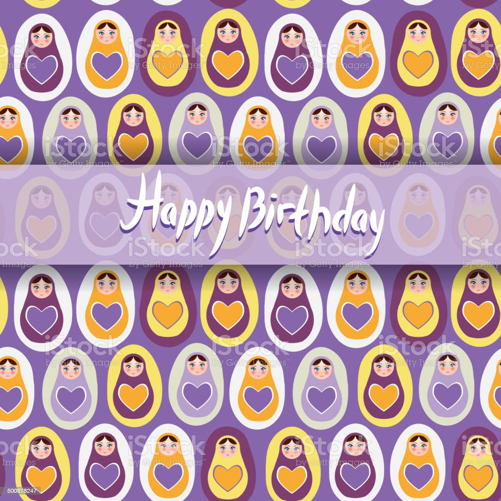 Happy Birthday Card Pattern Orange Russian Dolls Matryoshka Purple Background Royalty Free