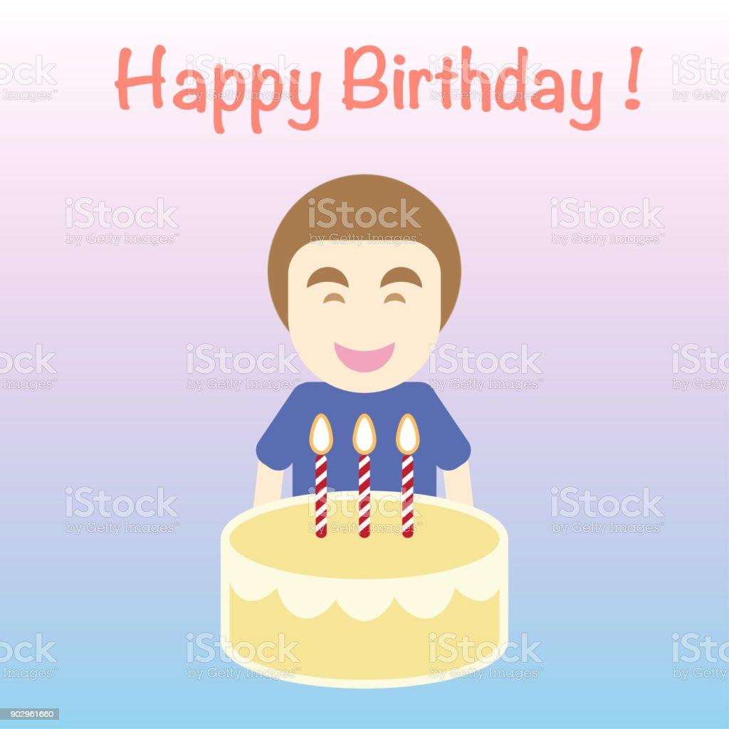 Vetor De Cartão De Feliz Aniversário Desenhos Animados Plano Simples