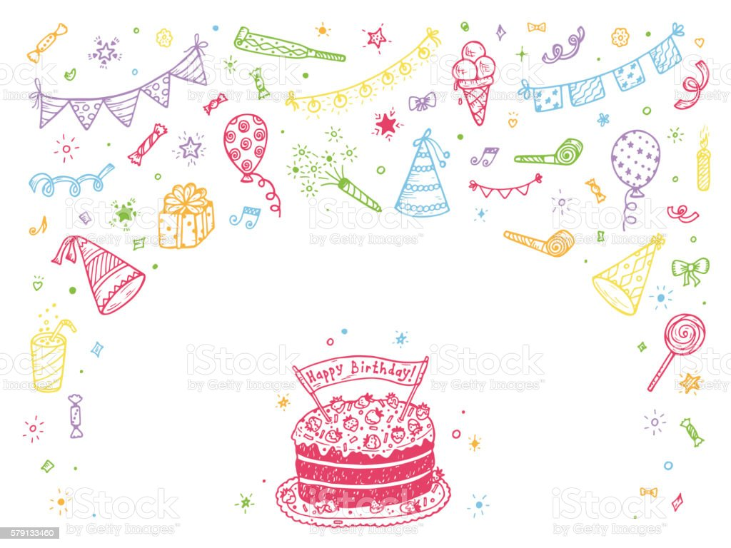 Happy Birthday Card Template. Hand Drawn Doodle Birthday Party Elements.  Royalty Free Stock