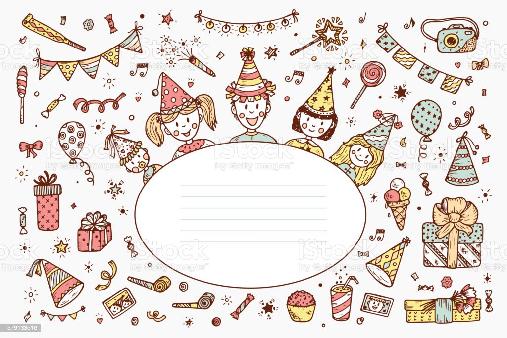 Happy Birthday Card Template. Hand Drawn Doodle Birthday Party Elements.  Royalty Free Happy
