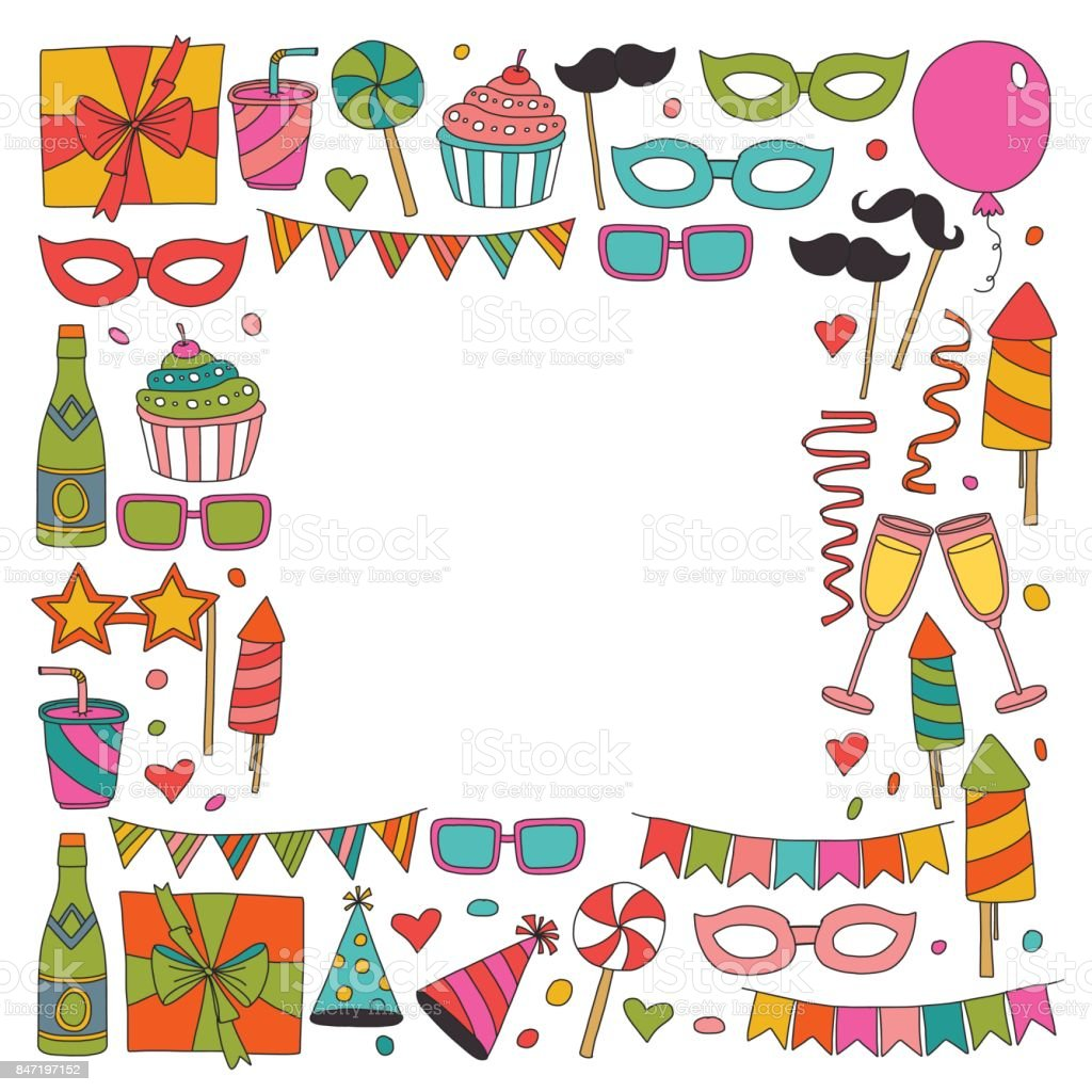 Happy Birthday Card Template Kids Drawing Children Party