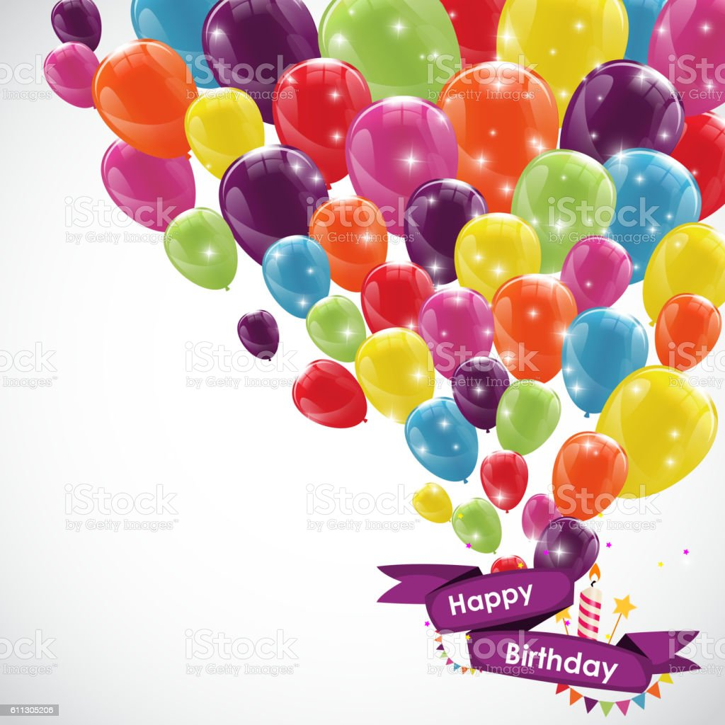 happy birthday card template with balloons ribbon and candle ve