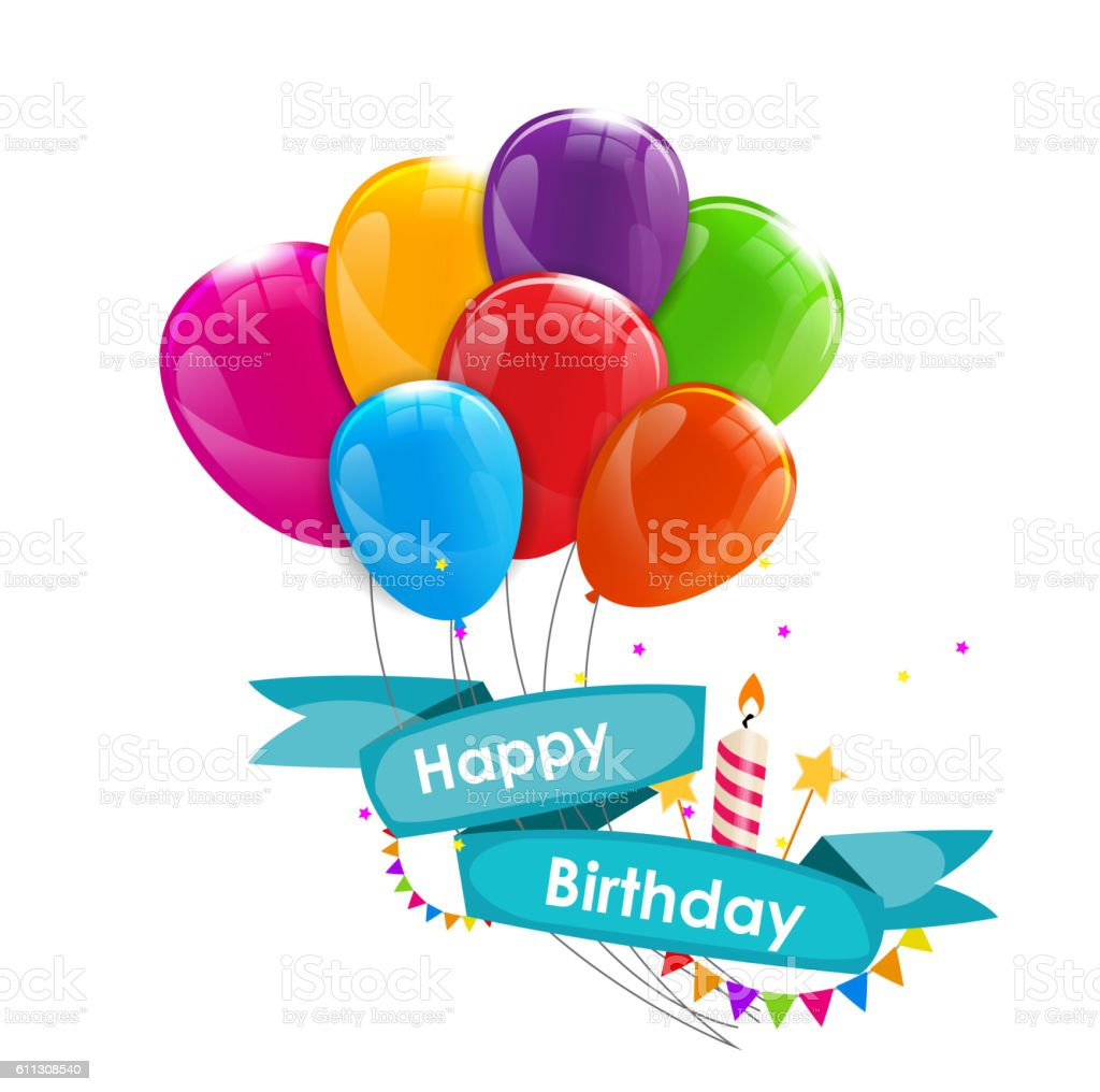 Happy Birthday Card Template With Balloons Ribbon And Candle Ve Lizenzfreies