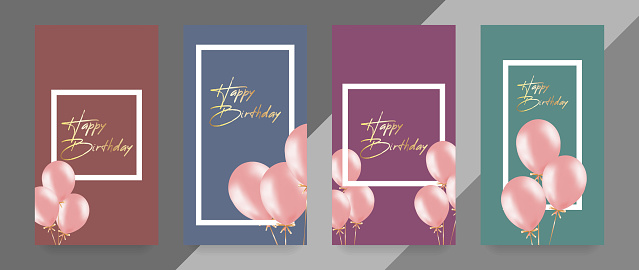 Happy Birthday card template with balloons