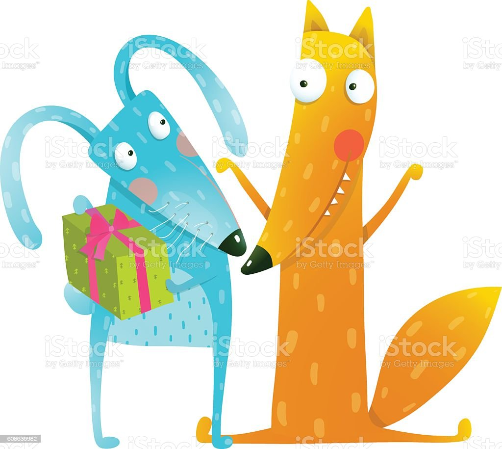 happy birthday card template with bunny and fox characters stock