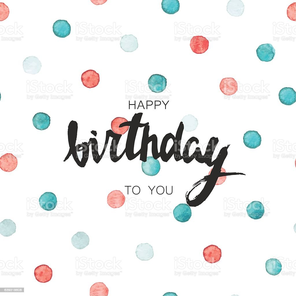 Happy Birthday Card Text Poster With Watercolor Dots Lizenzfreies