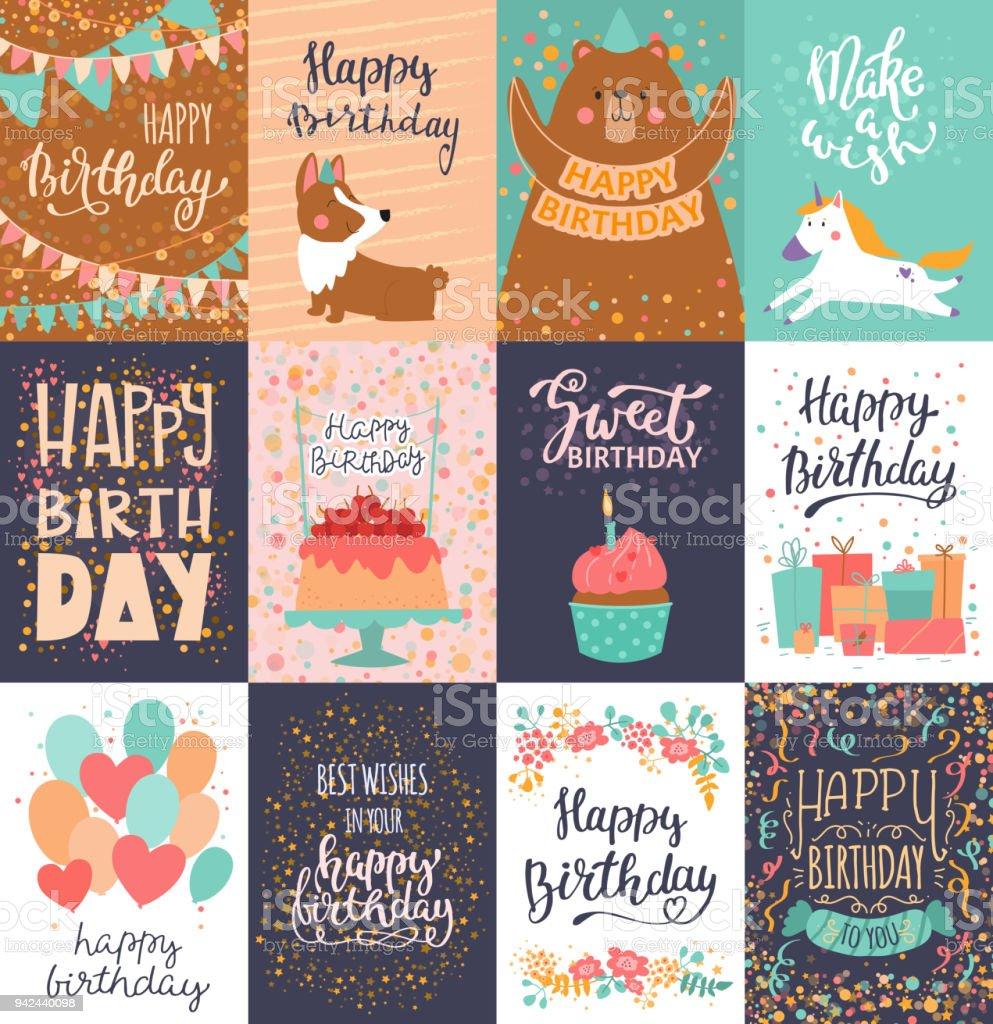 Happy birthday card vector anniversary greeting postcard with lettering and kids birth party invitation with cake or gifts illustration set of childs postal cards for typography vector art illustration