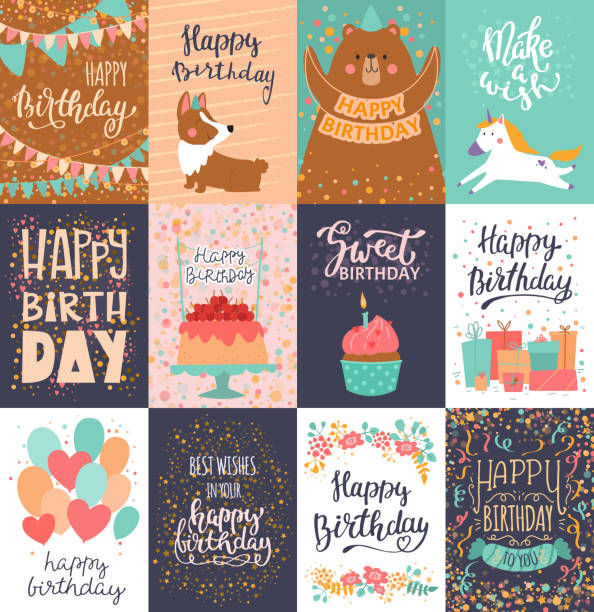happy birthday card vector anniversary greeting postcard with lettering and kids birth party invitation with cake or gifts illustration set of childs postal cards for typography - happy birthday cake stock illustrations, clip art, cartoons, & icons
