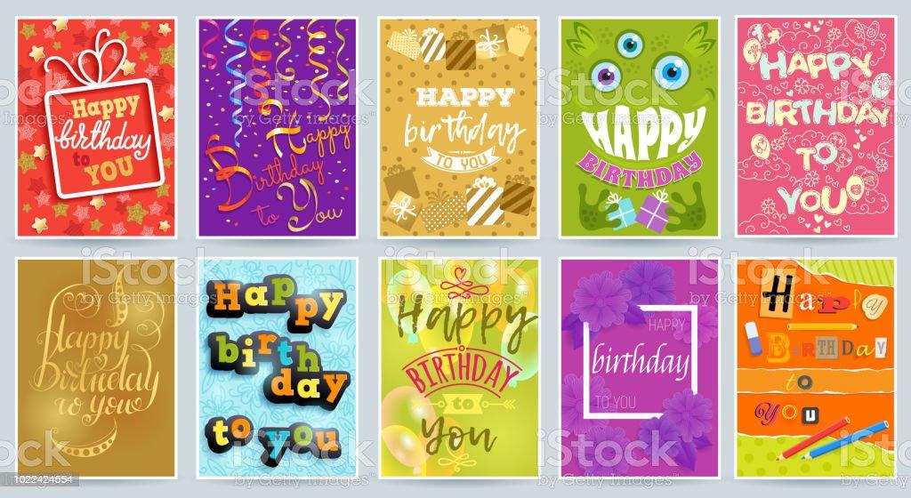 Ilustración De Postal De Saludo De Aniversario Feliz