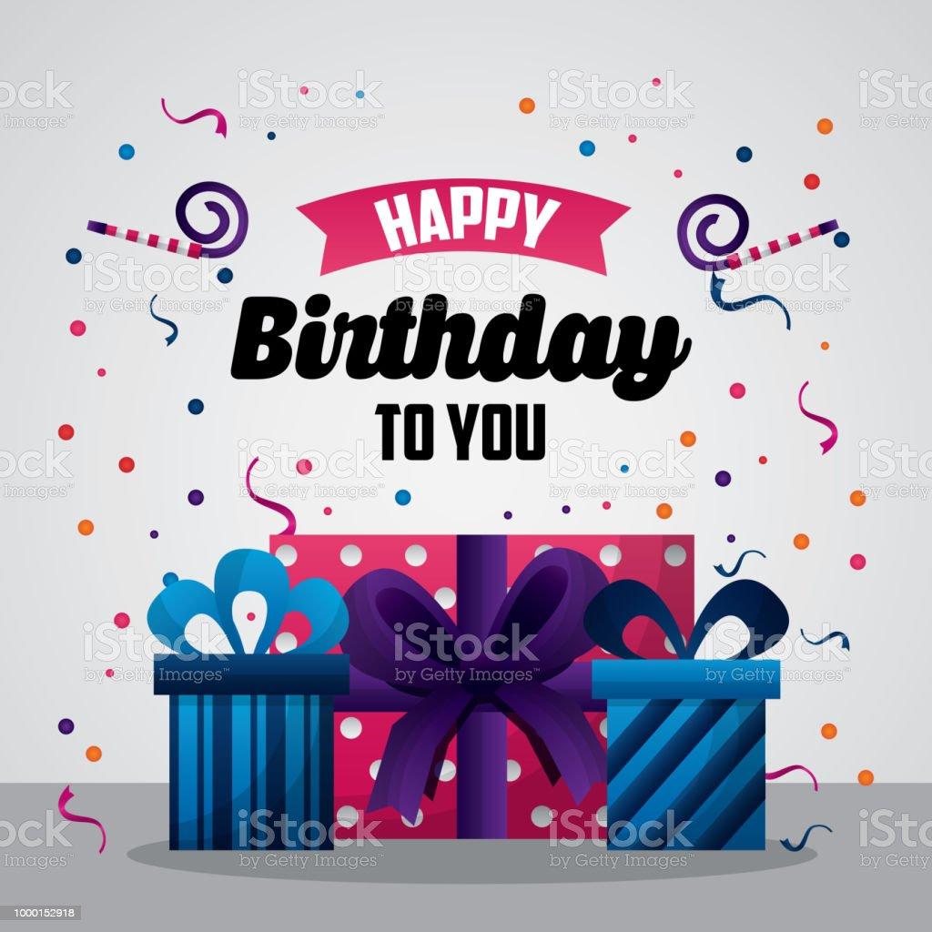Happy Birthday Card Lizenzfreies Stock Vektor Art Und Mehr Bilder Von Bunt