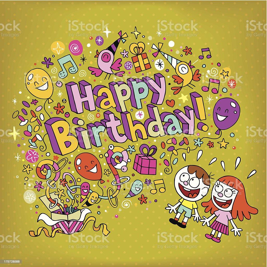 Happy Birthday Card Lizenzfreies Stock Vektor Art Und Mehr Bilder Von Blume