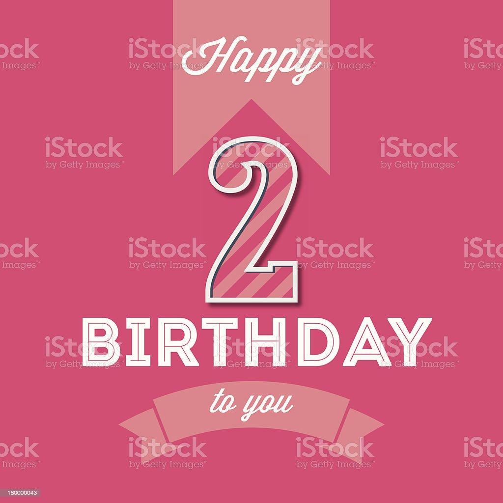Einzelwort Maschinenschrift Text Zahl Ziffer 2 Happy Birthday Card Lizenzfreies