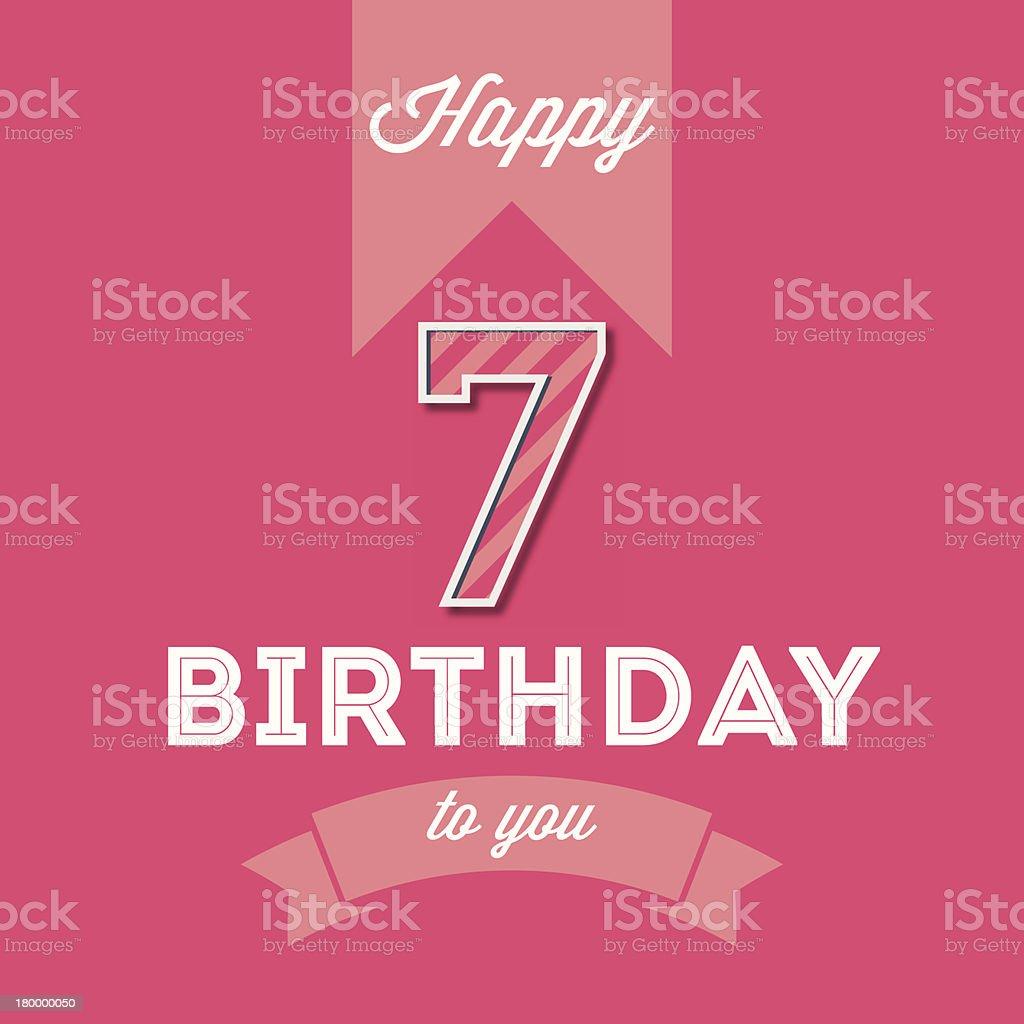 Einzelwort Maschinenschrift Text Zahl 7 Happy Birthday Card Lizenzfreies