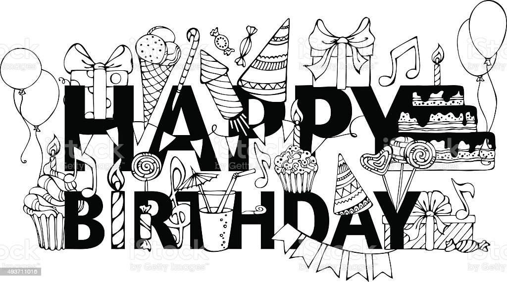 Happy Birthday Card stock vector art 493711016 – Birthday Cards Black and White