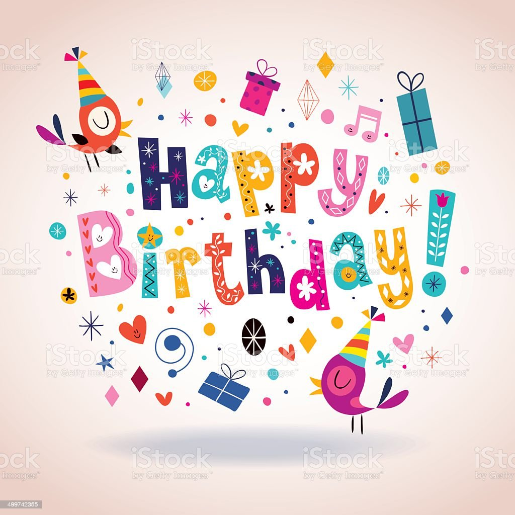 Happy Birthday Card Stock Illustration - Download Image Now