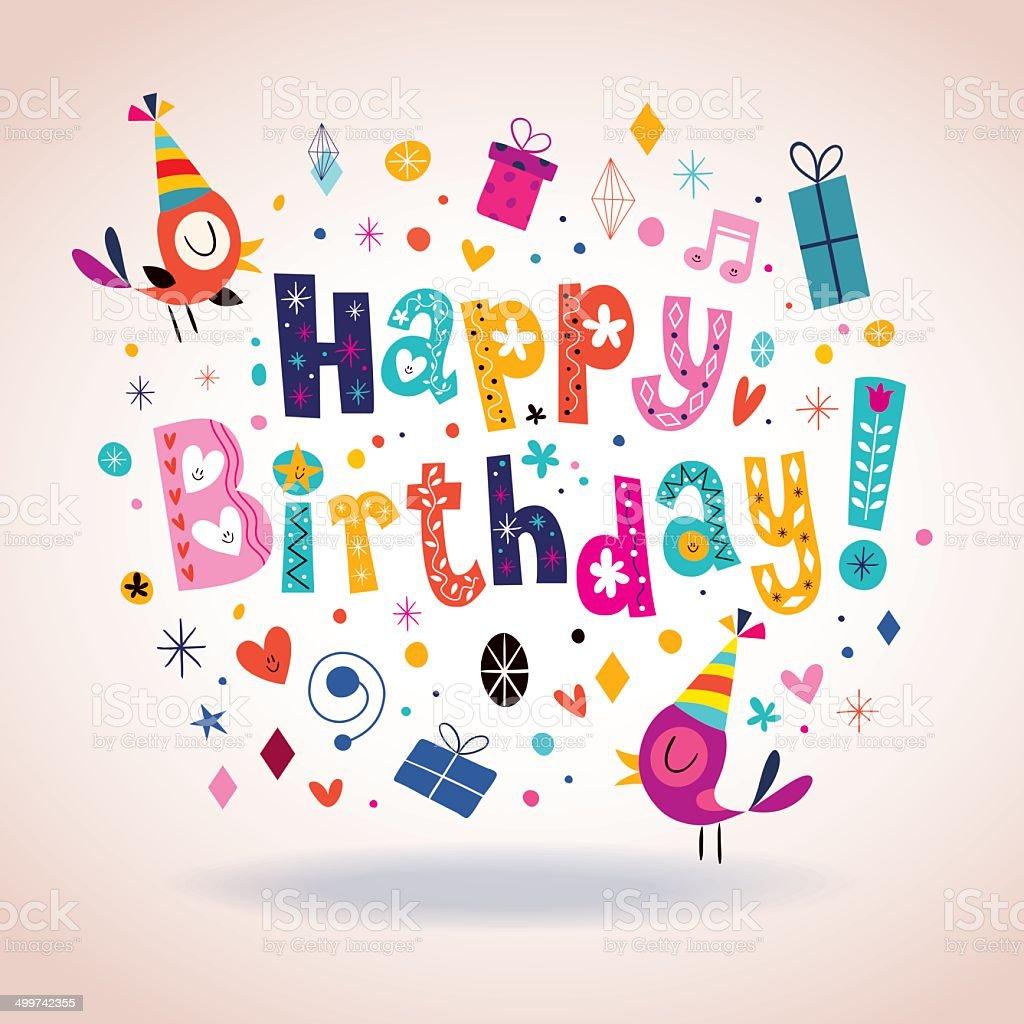 Happy Birthday Card Lizenzfreies Stock Vektor Art Und Mehr Bilder Von Charakterkopf