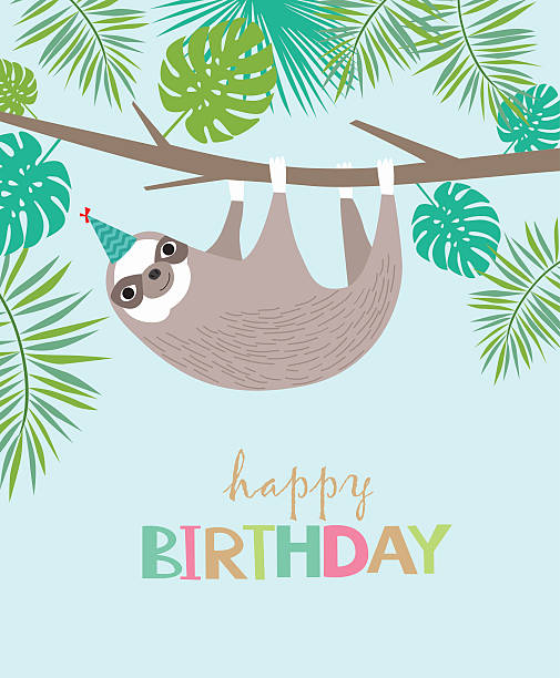 Happy Birthday card Happy Birthday tropical card with sloth baby sloth stock illustrations