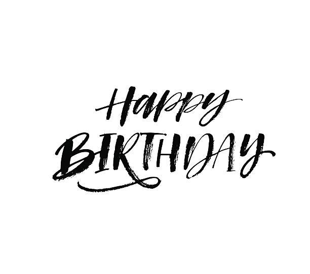 Royalty Free Happy Birthday In Cursive Writing Clip Art