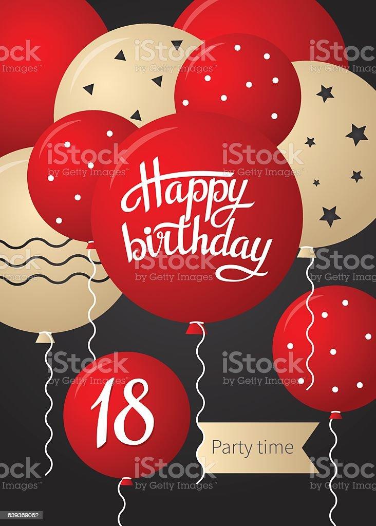 Happy Birthday Card Lizenzfreies Stock Vektor Art Und Mehr Bilder Von 18