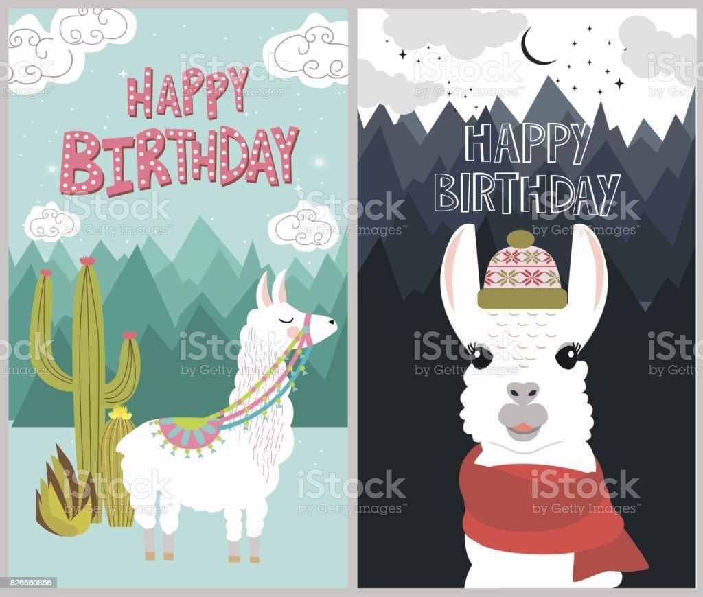 Happy Birthday Card Lizenzfreies Stock Vektor Art Und Mehr Bilder Von Alpaka