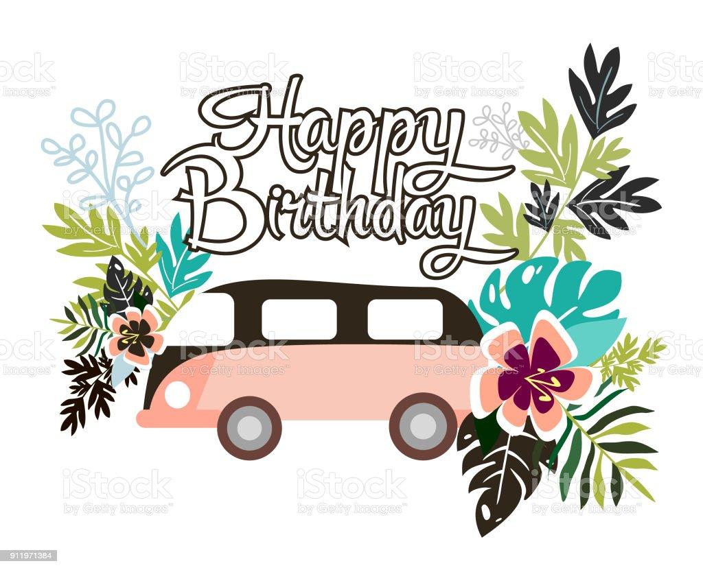 Happy Birthday Card Lizenzfreies Stock Vektor Art Und Mehr Bilder Von Ast