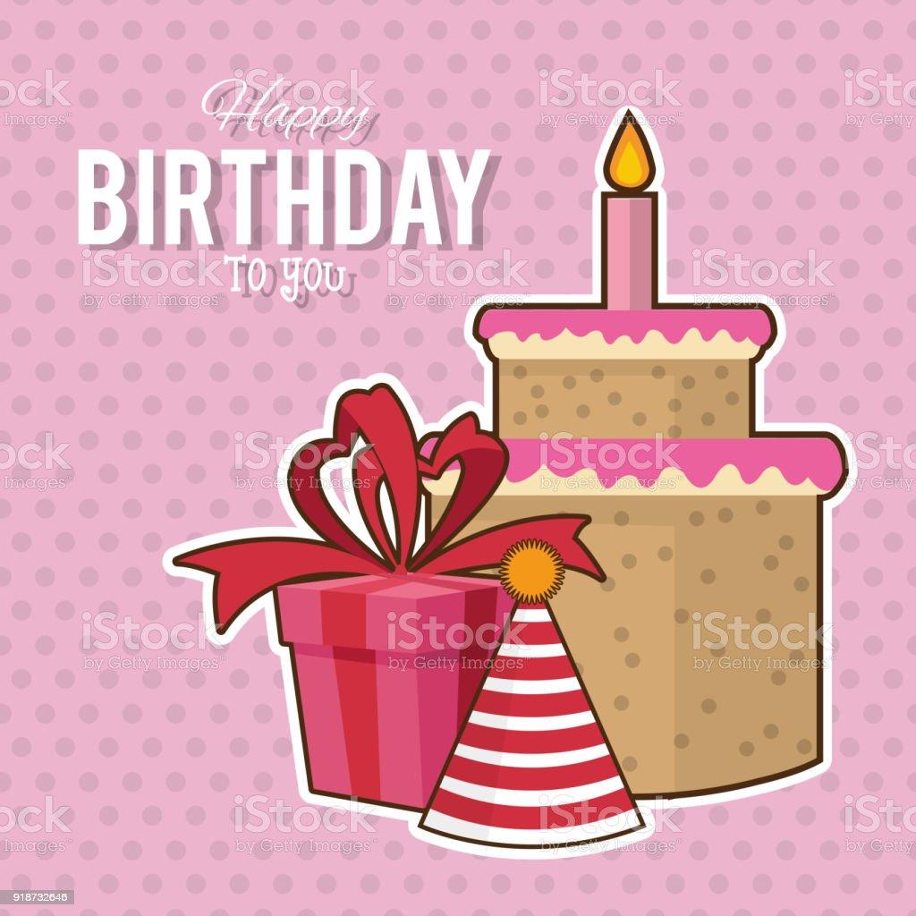 Happy Birthday Card Lizenzfreies Stock Vektor Art Und Mehr Bilder Von Abstrakt