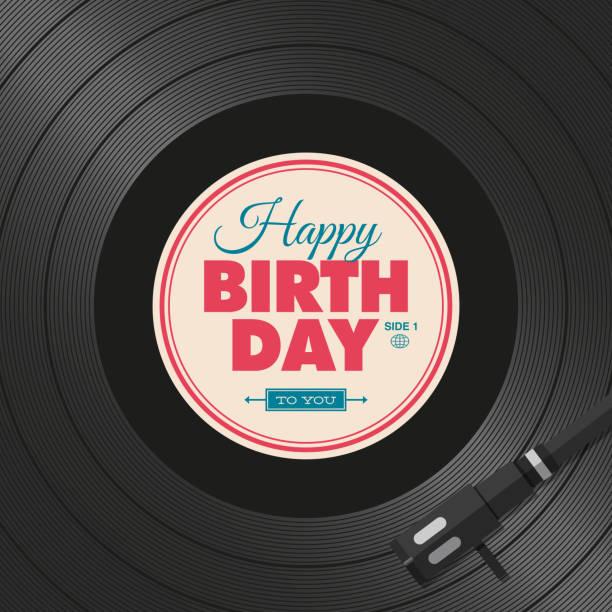 ilustrações, clipart, desenhos animados e ícones de cartão de feliz aniversário.   - toca discos