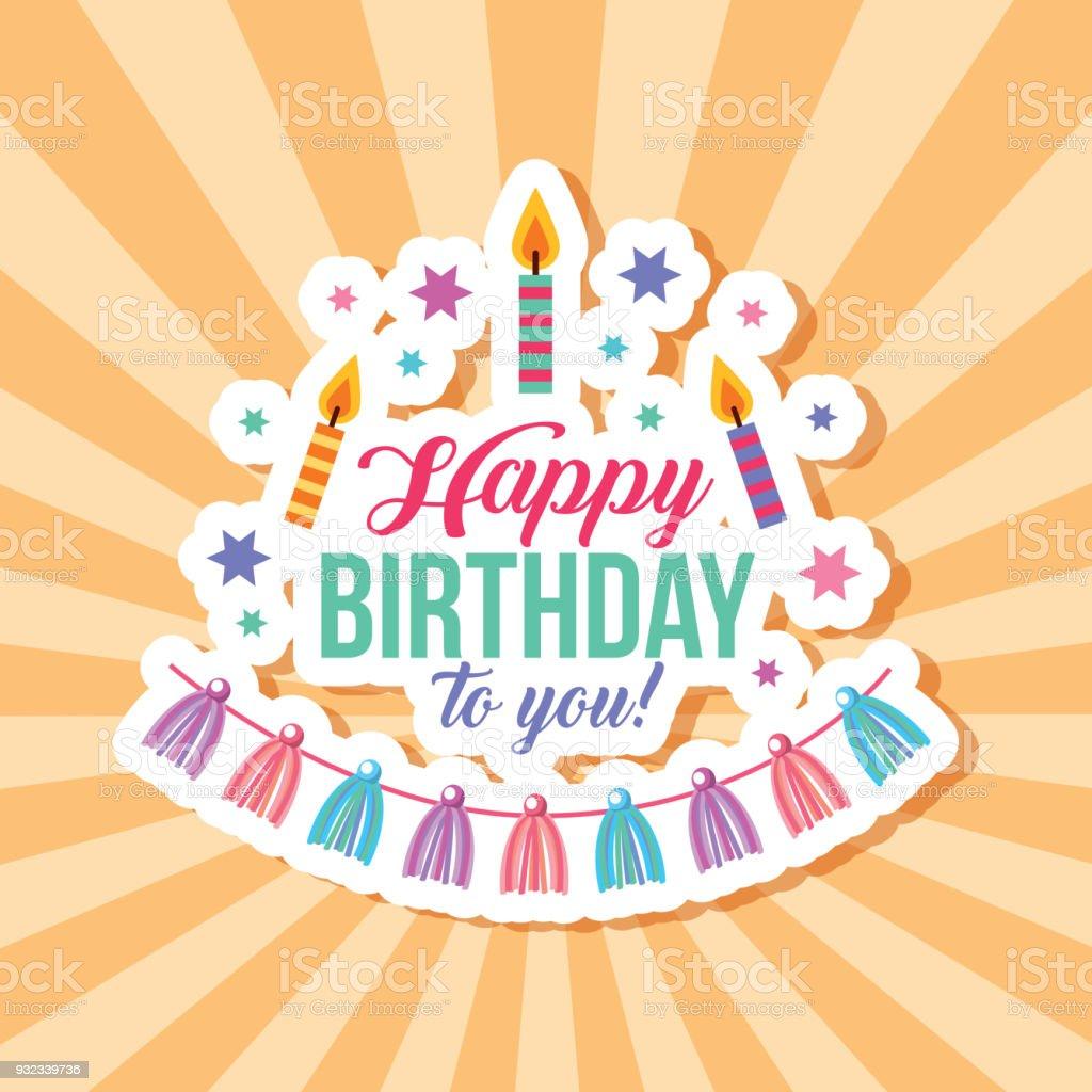 Happy Birthday Card Lizenzfreies Stock Vektor Art Und Mehr Bilder Von Band