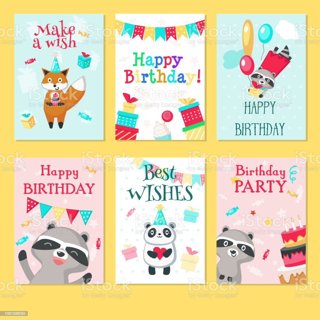 Happy Birthday Card Vector Template Set Stock Illustration - Download Image  Now