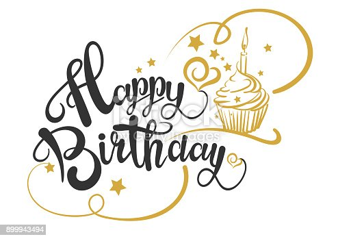 Happy Birthday Card, Happy Birthday Text, Happy Birthday Drawing. Vector image. EPS 8