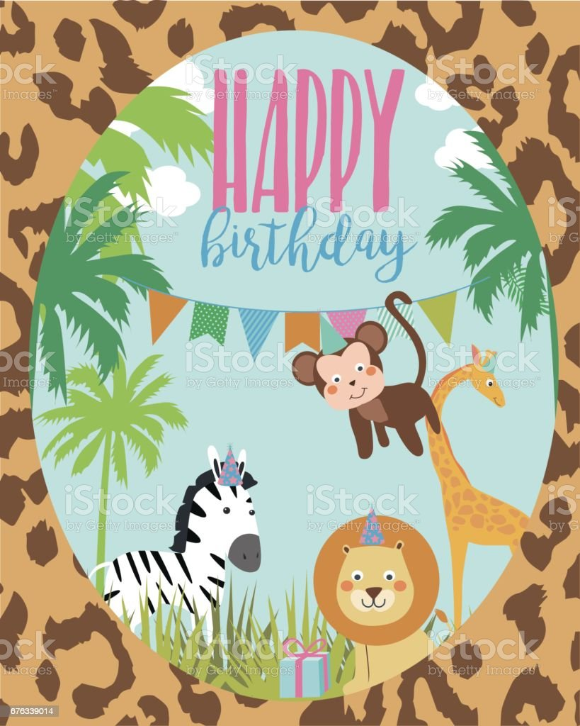 Happy birthday card with african animals stock vector art more happy birthday card with african animals royalty free happy birthday card with african animals stock bookmarktalkfo Choice Image