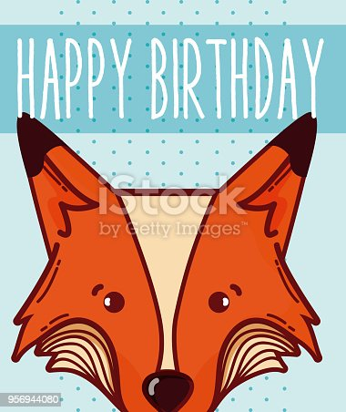 Happy Birthday Card With Animal Cartoon Stock Vector Art More