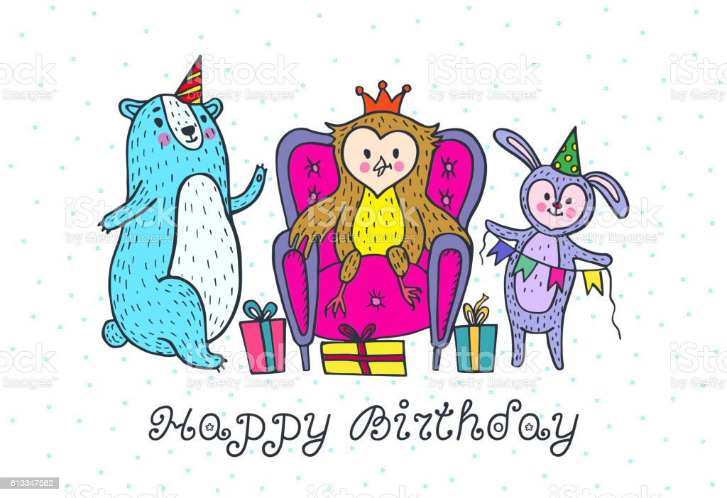 Happy Birthday Card With Animal Characters Stock Vector Art