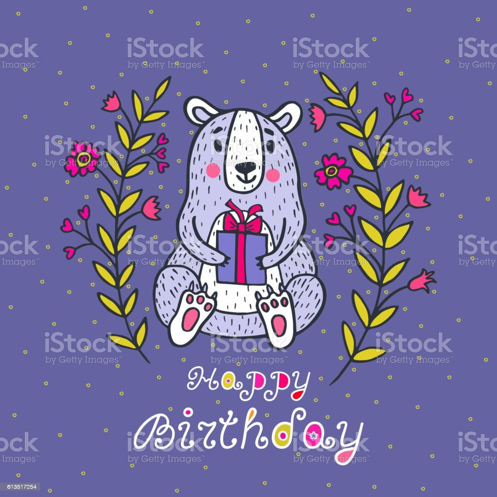 Happy Birthday Card With Bear Character And Gift Box Lizenzfreies