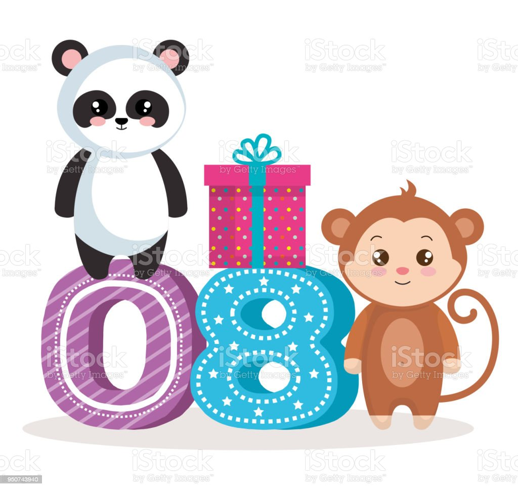 happy birthday card with bear panda amd monkey