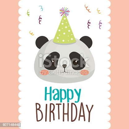 Happy Birthday Card With Bear Panda Stock Vector Art More Images
