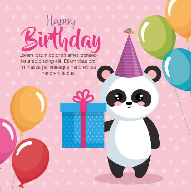 Happy Birthday Card With Bear Panda Vector Art Illustration