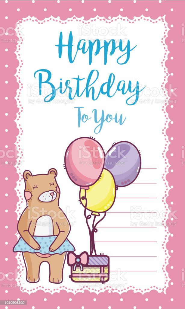 Happy Birthday Card With Bear Stock Vector Art More Images Of