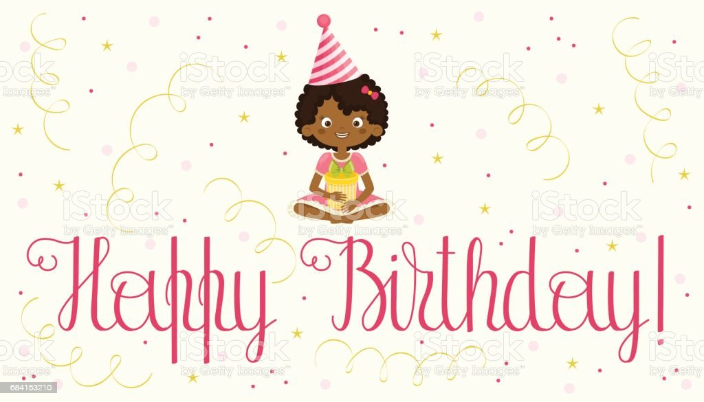 Happy Birthday Card With Black Girl Stock Vector Art More Images