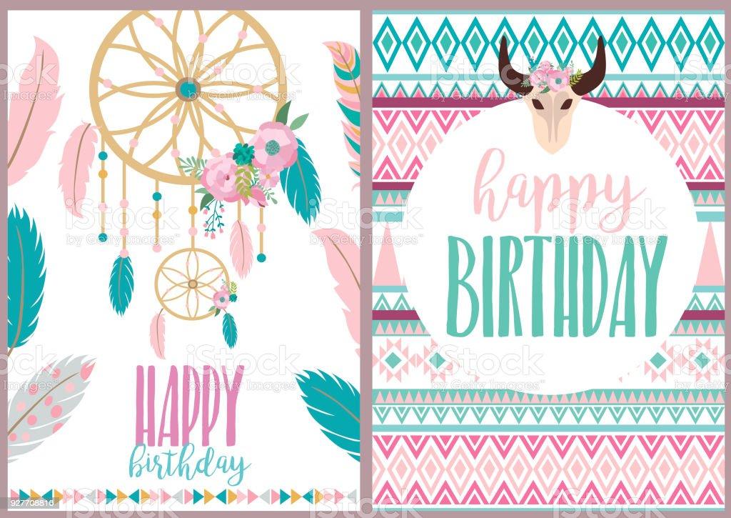 Happy Birthday Card With Boho Elements Vector Illustration Stock