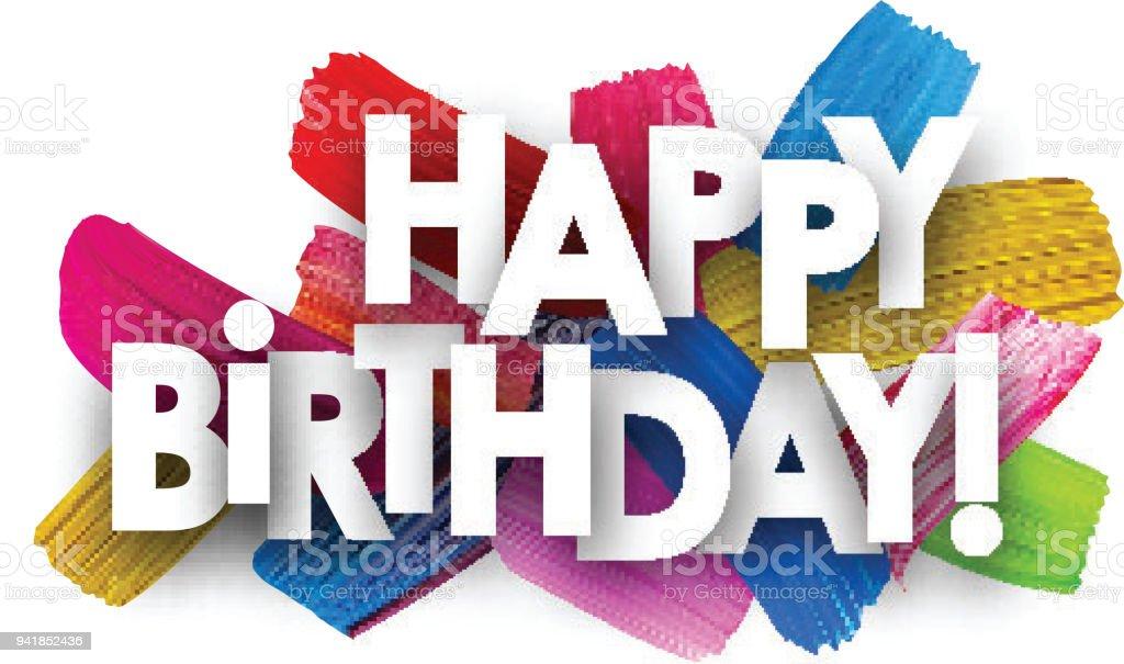 Mutlu Doğum Günü Kartı Fırça Darbeleriyle Stok Vektör Sanatı