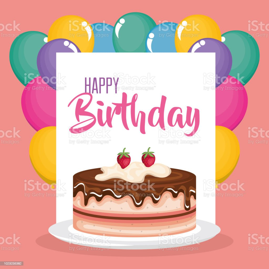Happy Birthday Card With Cake And Balloons Helium Stock Vector Art