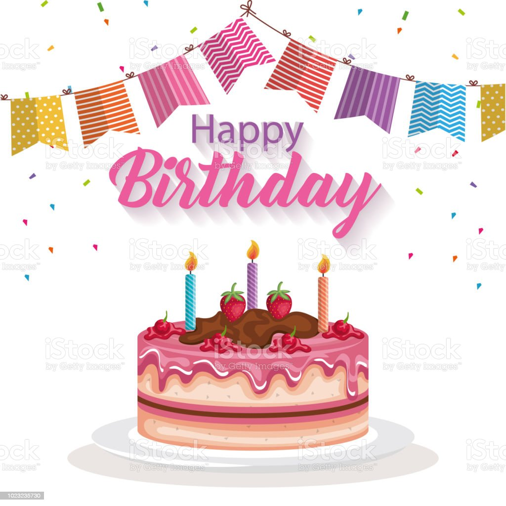 Happy Birthday Card With Cake And Garlands Stock Vector Art More