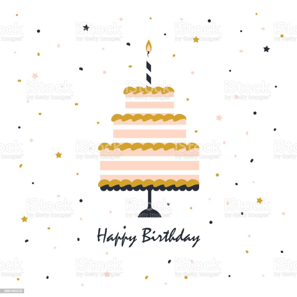 happy birthday card with cake vector art illustration